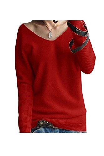 LongMing Damen Herbst und Winter Amicor arbeiten lose mit langen Ärmeln V-Ausschnitt-PulloverSexy Pullover mit V-Ausschnitt Pulli tollen Farben, Rot, Gr. S / EU Size 32-38 (Kaschmir-pullover Roter)