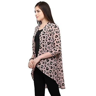 Serein Women's Printed Georgette Long Shrug/Long Jacket with 3/4 Th Sleeves (Medium)