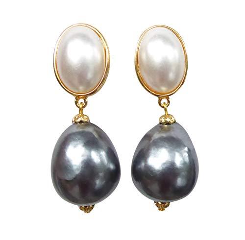 JUSTWIN - Orecchini a clip, molto grandi, leggeri, placcati in oro, con pietra bianca madreperla, perle grigie scure a goccia