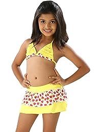 Likeable Yellow 2 piece swim wear with heart shaped print skirt bottom.