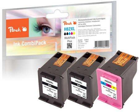 Preisvergleich Produktbild Peach Spar Pack Plus Druckköpfe kompatibel zu HP No. 62XL, C2P05AE, C2P07AE