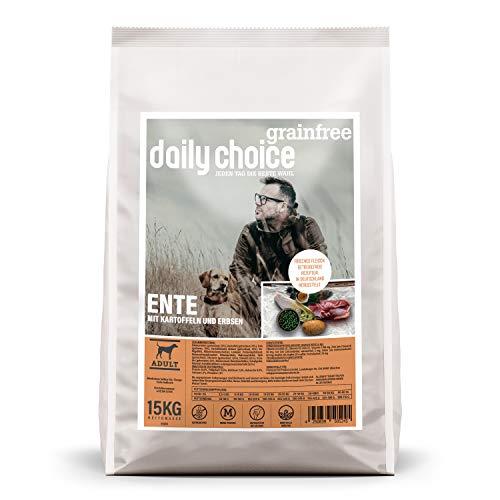 daily choice grainfree | 15 kg | Ente | Getreidefreies Trockenfutter für Hunde | Monoprotein Hundefutter mit Frischfleisch | Enthält Chicorée, Grünlippmuschel und wertvolle Kräuter
