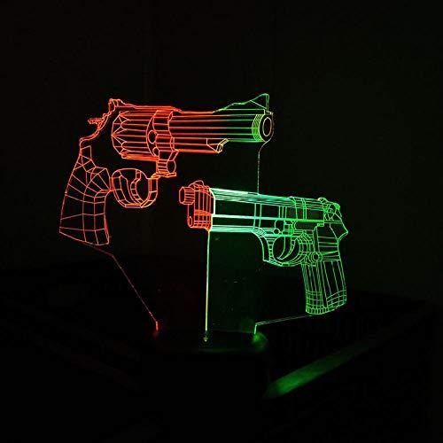 Mischfarben-Revolver Und Visuelles Nachtlicht Der Gewehr-3D Kreatives Buntes Noten-Aufladen Führten Stereolicht-Geschenk-Licht-Noten-Schalter -