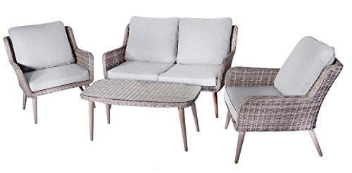 Salon de jardin de 4 pièces en aluminium/ résine tressé coloris gris clair -PEGANE-