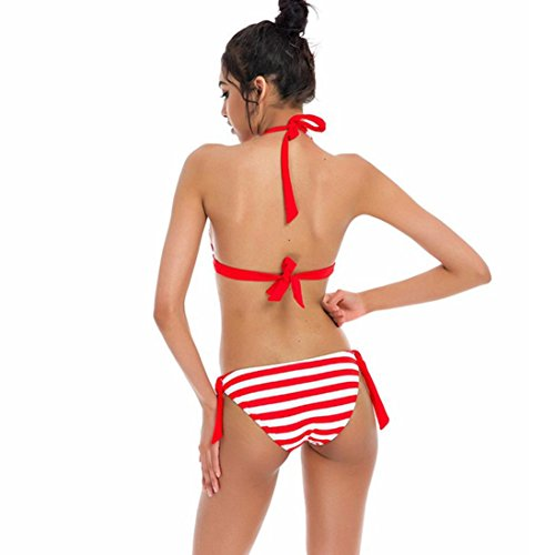 BYSTE Donne Bikini Set A strisce Costume da bagno Costumi da bagno beachwear bagnarsi Suit Rosso