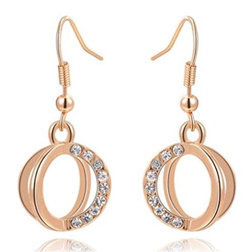 Patinum da donna, placcato in oro rosa con pavé di cristalli, doppio anello, orecchini a gancio - Orecchini Di Clip D'argento Ovali