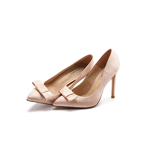 Mujeres Señoras peep toe zapatos de novia de la boda - Slingback con la flor de satén Marfil - UK6 - EU39 - US8 - AU7 Ivory 7s2bwF