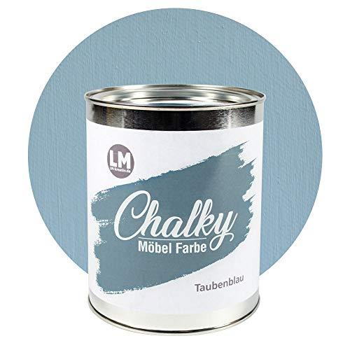 LM-Kreativ Chalky Möbelfarbe deckend 1 Liter / 1,35 kg (Taubenblau), matt finish In- & Outdoor Kreide-Farbe für Shabby-Chic, Vintage, Landhaus Stil