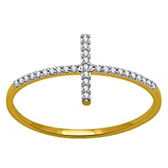 Idea Regalo - Oro giallo 14 kt petti croce forma Fashion Diamond Band Ring (0.09 ct), Oro giallo, 13,5, cod. RG43003-14KT-7