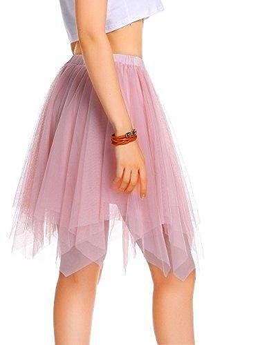 AMORETU Mini Rock Damen Kurz Schichten Tüll Flauschige Asymmetrische Röcke ()