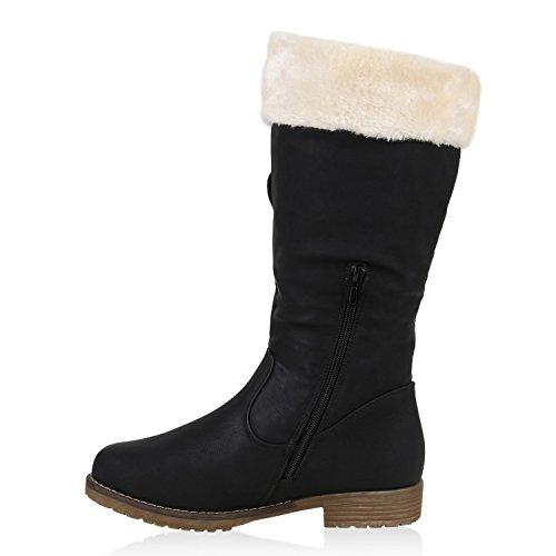 Warme Damen Schuhe Stiefel Stiefelette Boots Schwarz Weiss