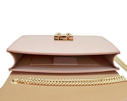 AMELIA Sac à main Baguette Pochette, sac à bandoulière avec chaîne en or pâle, cuir lisse, fabriqué en Italie jaune
