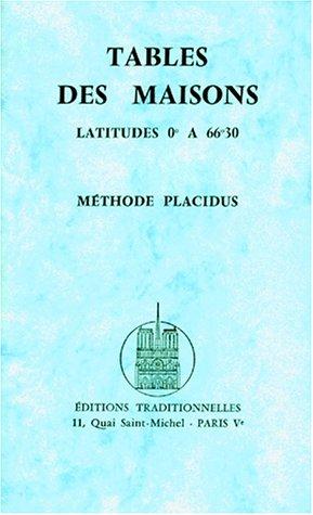 Tables des maisons selon Placidus par Ridondelli