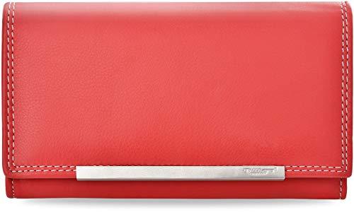 klassisches Damen - Portemonnaie TILLBERG hohe Qualität weiches Naturleder rot