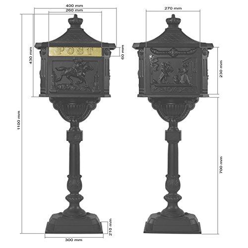 Maxstore Antiker Standbriefkasten aus rostfreiem Aluminium Briefkasten Postkasten groß antik Höhe 111 cm detailreiche Verzierungen 4 Farbvarianten Grün - 4