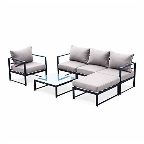 Alice's Garden - salon de jardin 5 places - Acatium Anthracite et Taupe - 6 éléments en aluminium, coussins épais, design et modulable, fauteuils, pouf et table basse