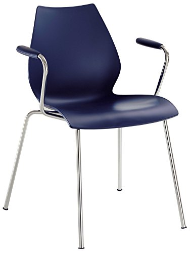 Kartell Maui - Chaise avec accoudoirs navy/polypropylène/structure chrome