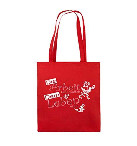Comedy Bags - Die Arbeit kann warten dein Leben nicht! - Jutebeutel - lange Henkel - 38x42cm - Farbe: Schwarz / Weiss-Neongrün Rot / Rosa-Weiss
