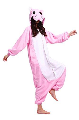 Halloween Kostüme Hippo (Hstyle Unisex Cartoon Pyjamas Onesies-Halloween-Party Kostüm Kigurumi Jumpsuits Rosa Hippo)