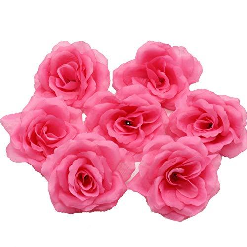 Seide Blumen Großhandel von 100Künstliche Seide Rose Köpfe Bulk Blumen 10cm für Wand Kissing Bälle Hochzeit Supplies dunkelrosa