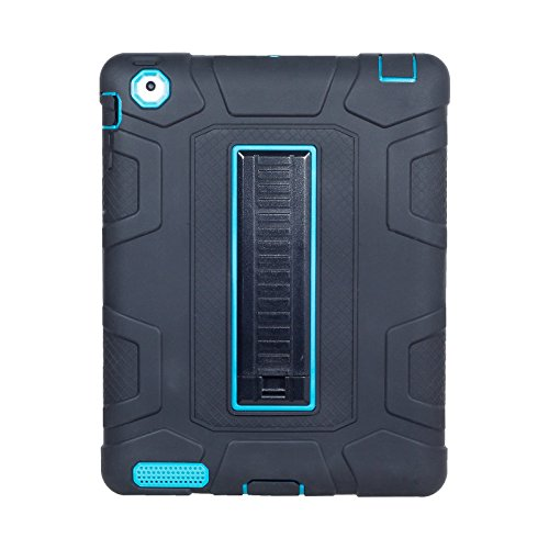 Yoomer Schutzhülle für iPad 2, iPad 3, iPad 4 Hülle, dreilagig, strapazierfähig, kompletter Körperschutz, stoßfest, stoßfest, mit Ständer für iPad 2/3 / 4. Generation, Black+Teal