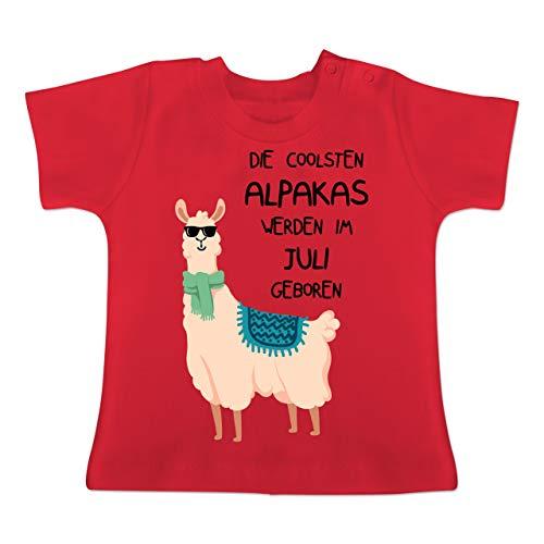Geburtstag Baby - Die coolsten Alpakas Werden im Juli geboren Sonnenbrille - 18-24 Monate - Rot - BZ02 - Baby T-Shirt Kurzarm