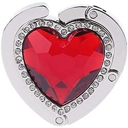 Lifet Crochet de sac à main en forme de cœur avec strass rouge