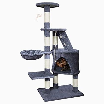 Wellhome Arbol para Gatos Escalador para Gatos Sisal Cubierto Rascador para Gatos con Hamaca Plataforma de Perchas y Juguete Ratón 120cm Gris