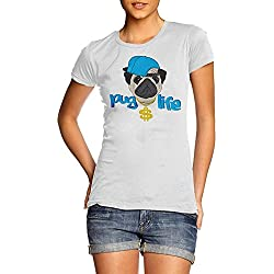 Pug Life–Camiseta de mujer, color blanco