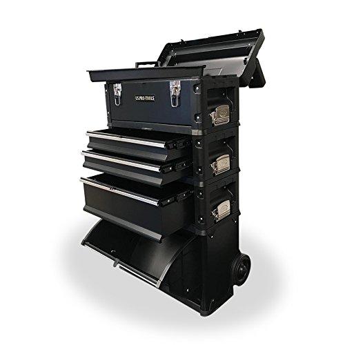US PRO TOOLS schwarz Arbeit Center Kunststoff Stahl Mobile Rolling Brust Trolley Cart Schrank 4in 1Werkzeug Box Rollen