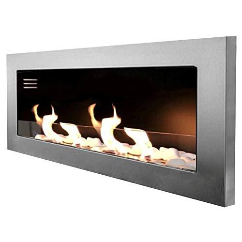 Mierzwa - Chimenea de bioetanol para pared (incluye cristal de seguridad, juego de piedras decorativas y extintor de llama de acero inoxidable), Plateado