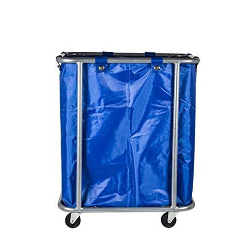WXF Panier à linge Chariot de service, voiture de linge de chariot de trieuse de blanchisserie d'hôtel, chariot multi-usages de nettoyage de sac avec les roues de roulement, parenthèse d'acier inoxyda