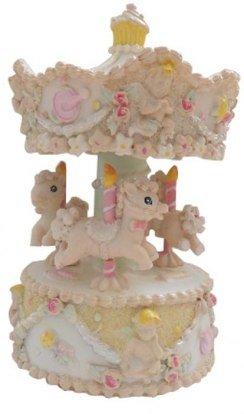 Carillon musicale giostra girevole con decoro unicorni rosa e giallo - h145 mm Ø80 mm- ideale come bomboniera o idea regalo