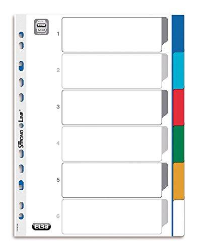 ELBA 400013952 Kunststoff-Register Strong-Line blanko 6-teilig für DIN A4 Plastikregister mit beschriftbarem Deckblatt blau rot grün gelb Ringbuch Ordner Ring-Mappe