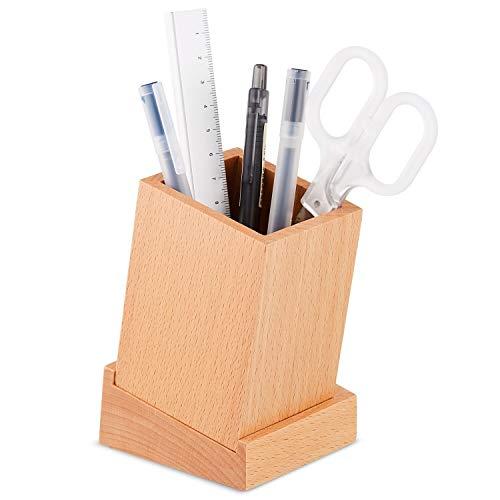 Buchenholz-lagerung (QIFUDEVS PEN HOLDER HOME Hölzerne Desktop Pen Pot Organizer Lagerung, 100% umweltfreundliche Desktop Buche Pen & Bleistift Cup Holder mit Fach für die Speicherung von kleinen Schreibwaren wie Büroklam)