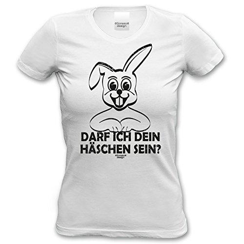 Ostergeschenk Frauen T-Shirt Osterhase Geschenkidee zu Ostern Darf ich dein Häschen sein? Osterfest, Geburtstag Rundhalsausschnitt Farbe: weiss Weiß