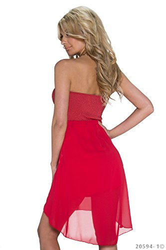 Fashion4Young Damen Elegantes Cocktailkleid Kleid Cocktail-Minikleid im Vokuhila-Stil Chiffon Nieten Gr. 34/36 Rot