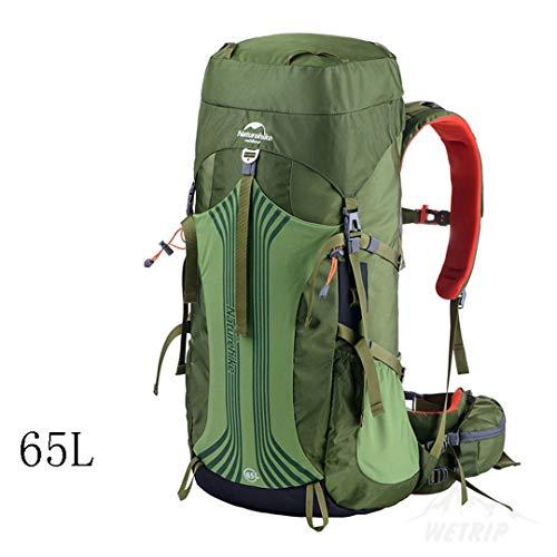 HENDTOR 55L 65L Outdoor Sports Taschen Camping Tasche Bergsteigen Rucksack Wandern Rucksack Unisex Metallrahmen Rucksäcke 65L Green -
