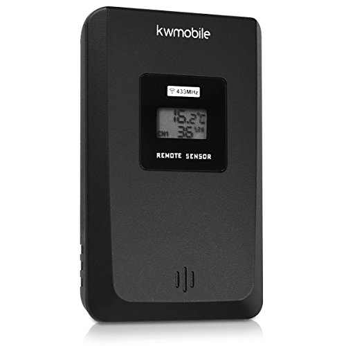 kwmobile Sensor de Temperatura y Humedad - Sensor transmisor termohigrómetro para Exterior - Sensor termómetro higrometro en Negro
