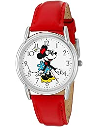 Disney Women's 'Minnie Mouse' Quartz Metal Automatic Watch, Color: Red (Model: W002768)