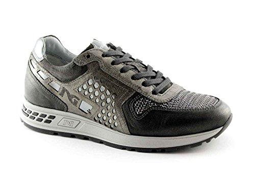 BLACK JARDINS 16182 gris chaussure de sport espadrilles lacets de luxe Grigio