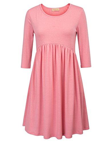 t-shirt Kleid damen basic Kleider mit falten moderne jersey kleid 2XL KK873-2 (Jersey Spandex T-shirt)