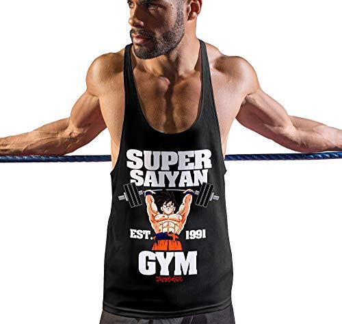 Stylotex Stringer Fitness Tank Top Super Saiyan Gym est. 1991 Herren Gym Tshirts für Performance beim Training | Männer ärmellos | Funktionelle Sport Bekleidung, Größe:M, Farbe:schwarz - Gym Tank Dbz