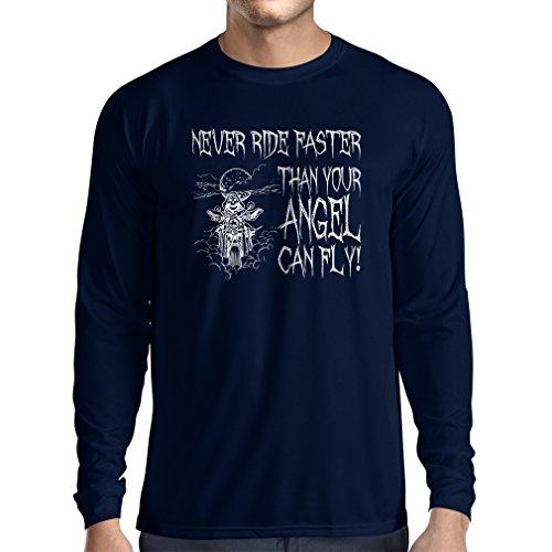 N4694L T-Shirt mit Langen Ärmeln Motorrad-Angebote (Large Blau Mehrfarben)