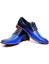 Modello Regda - 42 EU - Cuero Italiano Hecho A Mano Hombre Piel Marrón Zapatos Vestir Oxfords - Cuero Cuero Suave - Encaje