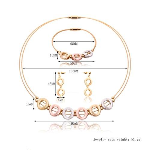 Generic Ensemble de 3pcs Collier Ras-du-cou Multicouche Bracelet Boucle d'Oreille Strass Perles Brillant Bijoux Cadeau Mariage Multicolore 2