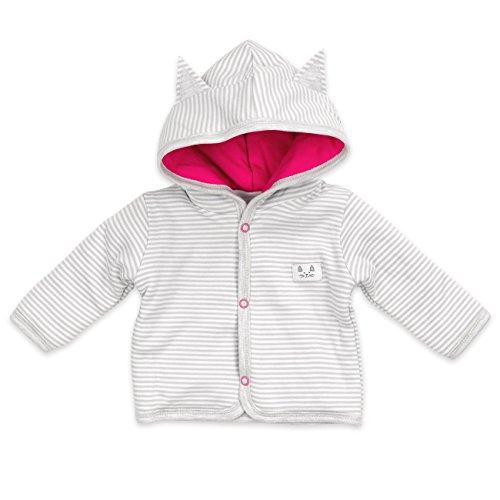 Baby Jacke Mädchen grau pink | Motiv: Katze | Marke: NINI | Babyjacke mit Kapuze für Neugeborene & Kleinkinder | Größe: 1 Monat (56)