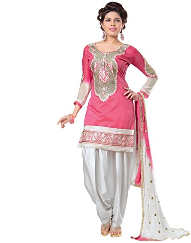 Stella Creation Women\'s Chanderi Pink Color patiala Salwar Suit Dress Material(TFW68-06-Pink)