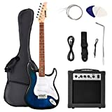Full-Size Electric Guitar Kit with 20W Amp, Tuner,Bag, Strap, Picks,String, Cable, Blue