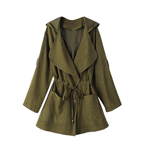 Trench-coat à capuche Femmes, Toamen Veste Parka coupe-vent Poches Cardigan Manteau mince Manche longue Mode Décontractée (L, Vert)